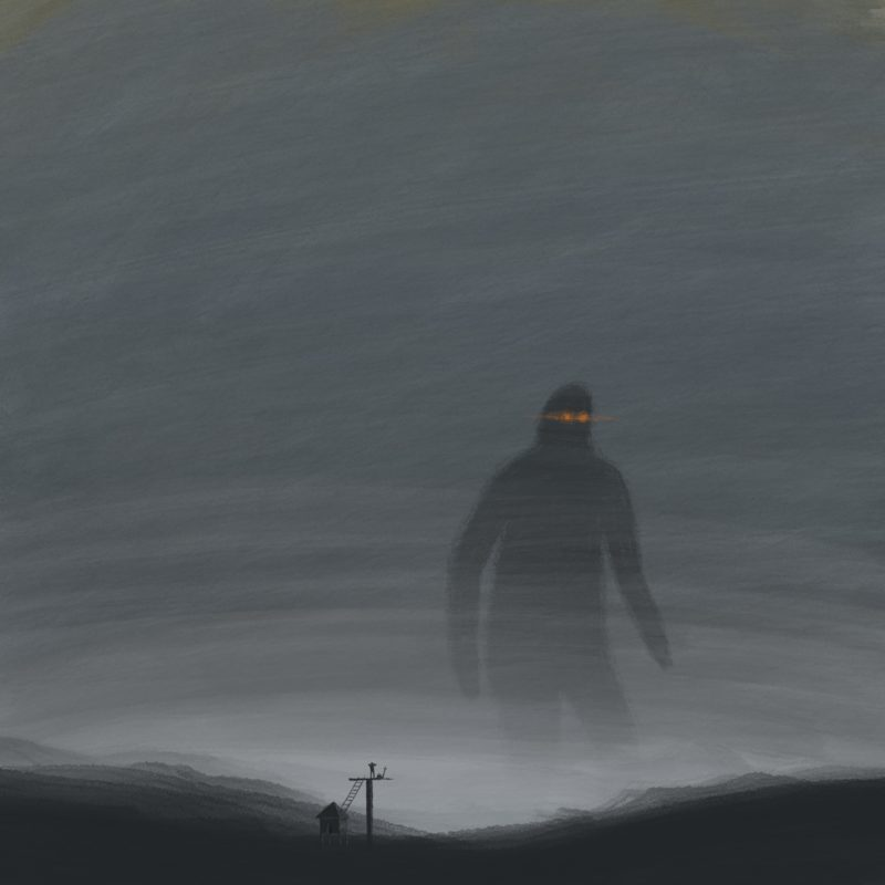 leeds illustration illustrator andy carter man looking from lookout at giant in the mist