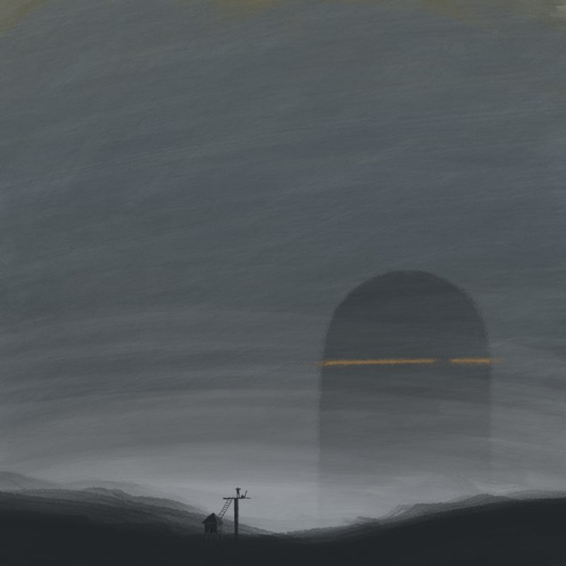 leeds illustration illustrator andy carter man looking from lookout at giant building in mist