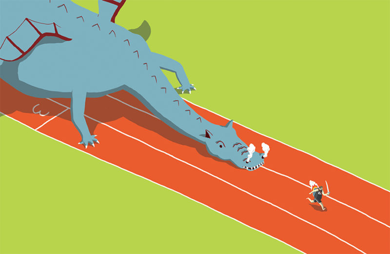 leeds illustration illustrator andy carter running from a dragon on a racetrack