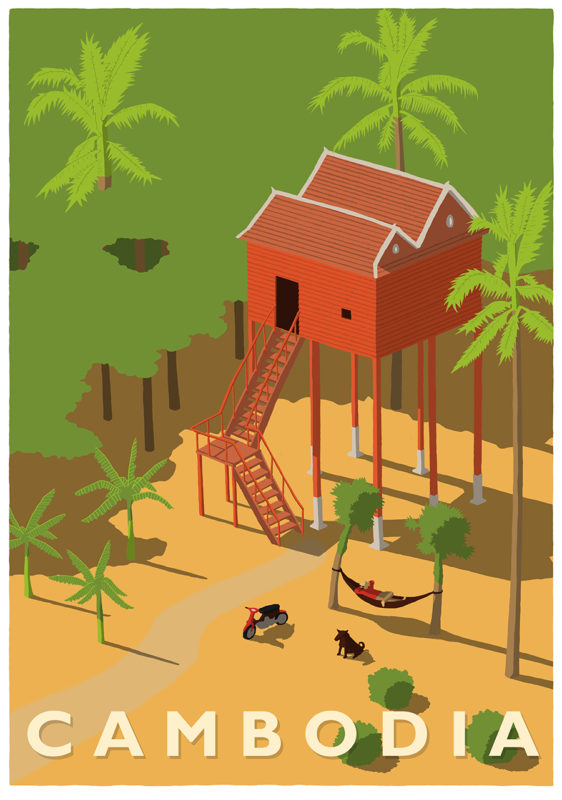 leeds illustration illustrator andy carter cambodia forest hut man in hammock