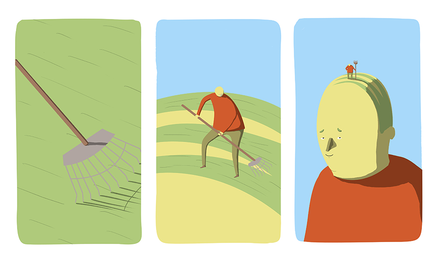 leeds illustration illustrator andy carter triptych man raking grass which is a combover