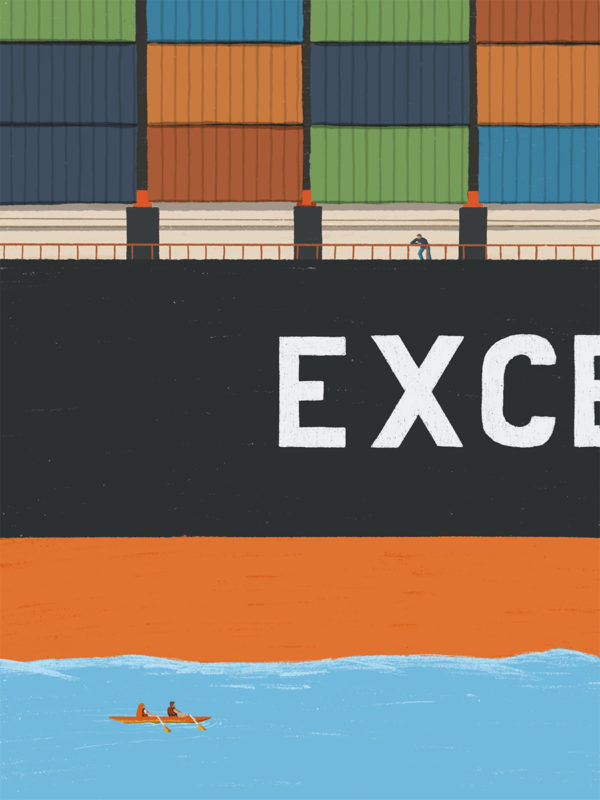 leeds illustration illustrator andy carter kayaking next to giant container ship