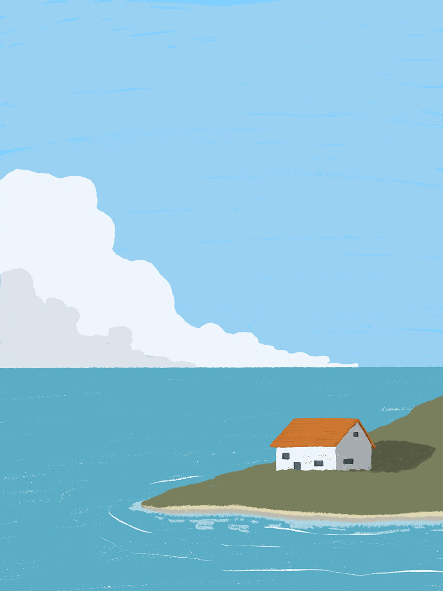 leeds illustration illustrator andy carter Croatian house on hillside by the sea