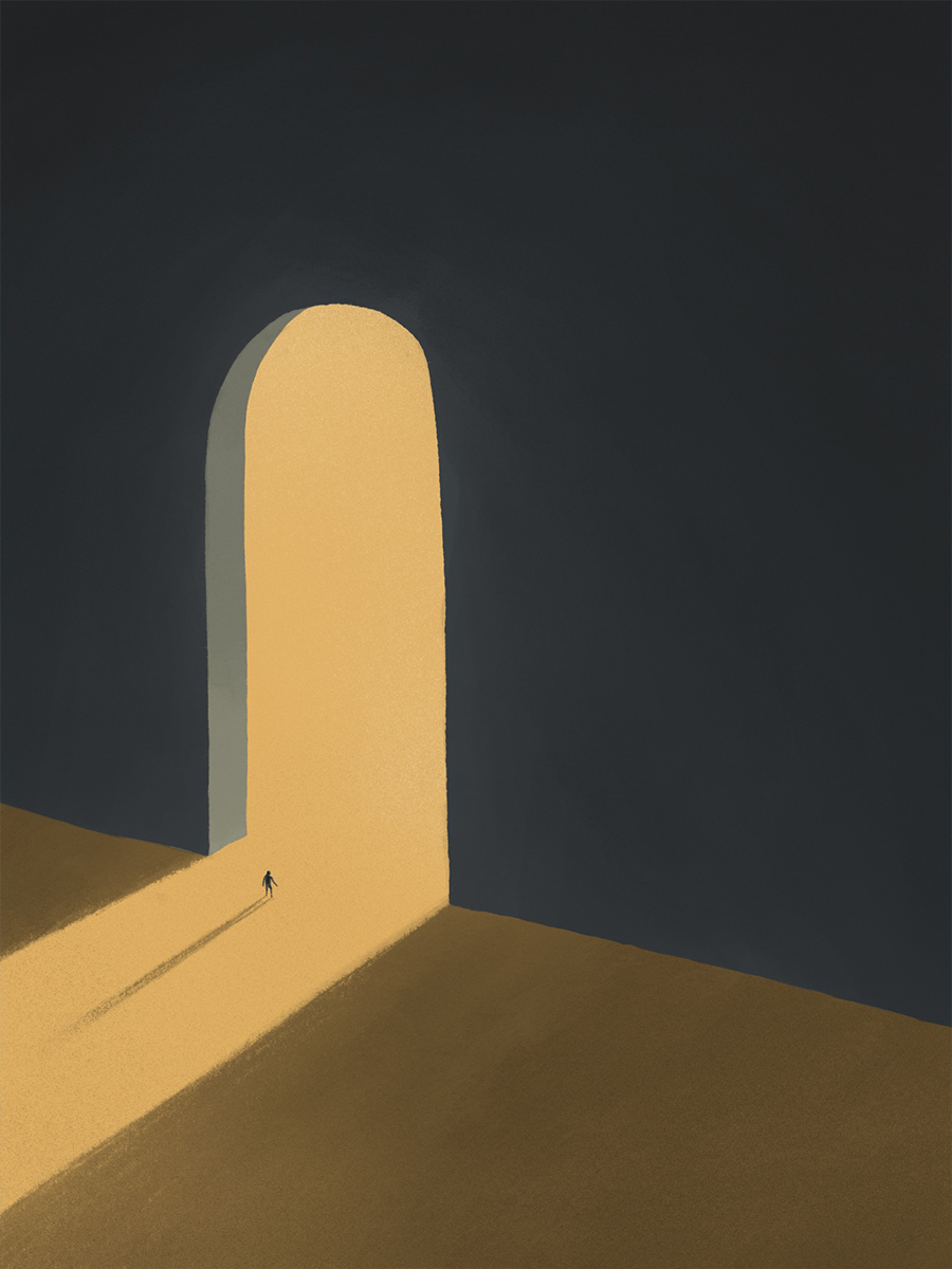 leeds illustration illustrator andy carter giant doorway leading into light with man in threshhold