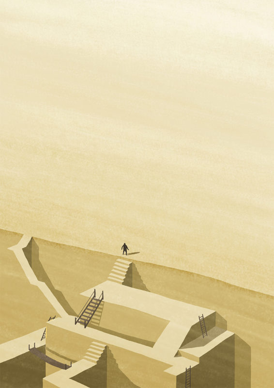 leeds illustration illustrator andy carter feeling of graduation man at the top of stairs onto plain