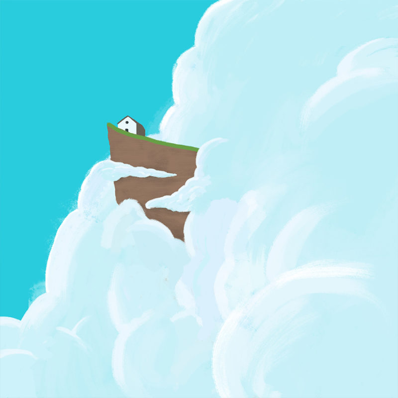 leeds illustration illustrator andy carter house on edge of cloudy cliff