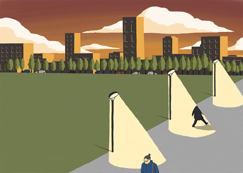 leeds illustration illustrator andy carter sunset surreal man walking into streetlights