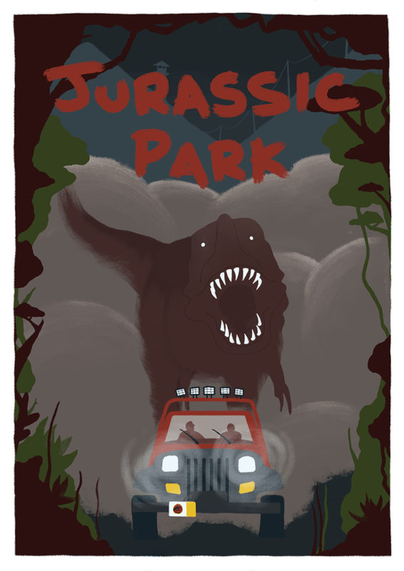 leeds illustration illustrator andy carter jurassic park escaping t rex poster