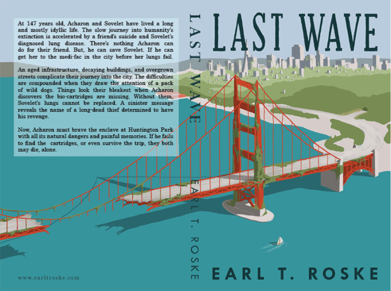 leeds illustration illustrator andy carter book cover sailing under a crumbling golden gate bridge