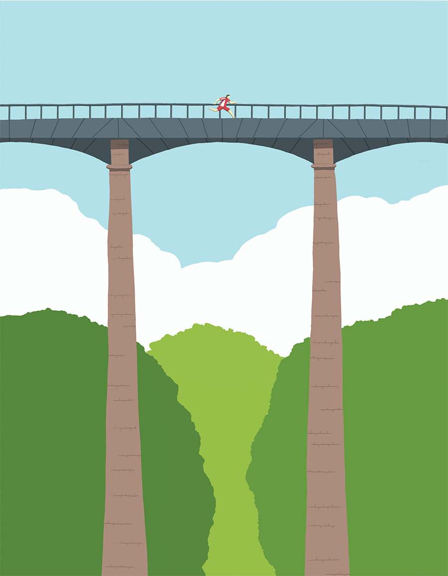 leeds illustration illustrator andy carter runner running on a bridge