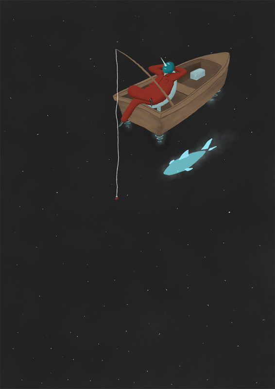 leeds illustration illustrator andy carter alien fishing in space