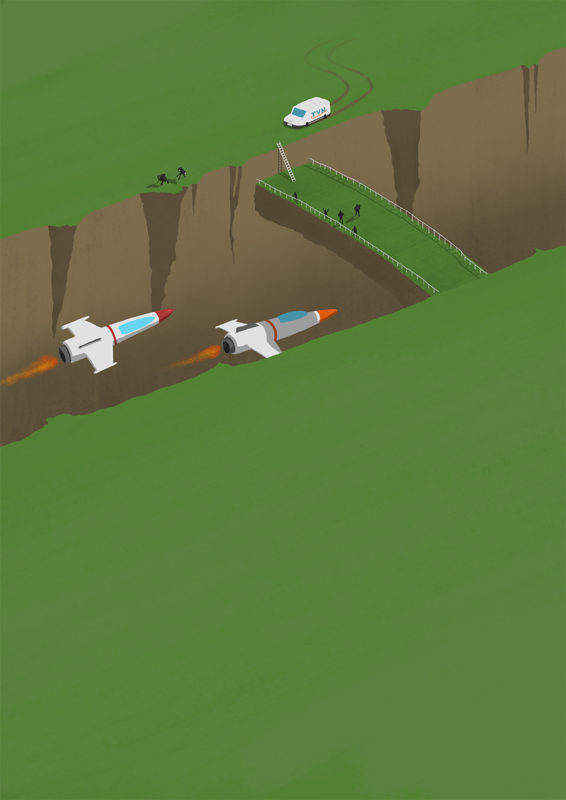 leeds illustration illustrator andy carter spaceships racing in canyon