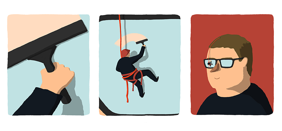 leeds illustration illustrator andy carter window cleaner cleaning steamy glasses