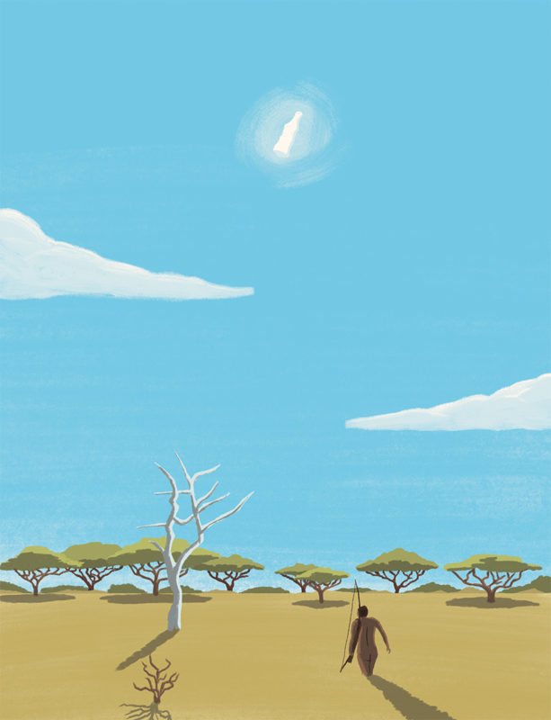 leeds illustration illustrator andy carter tribesman walking in african plain the gods must be crazy