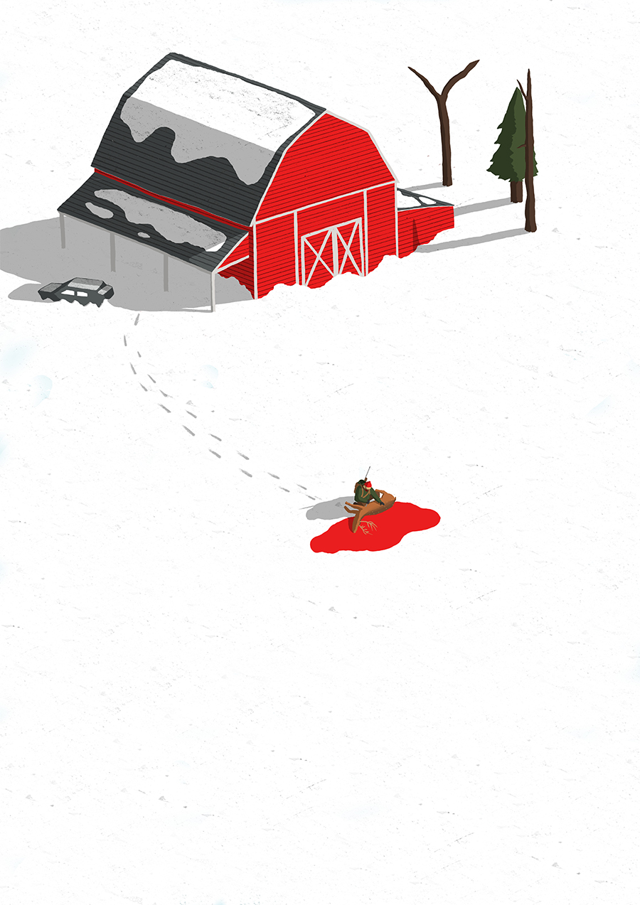 leeds illustration illustrator andy carter the long dark hunting a deer by an old barn
