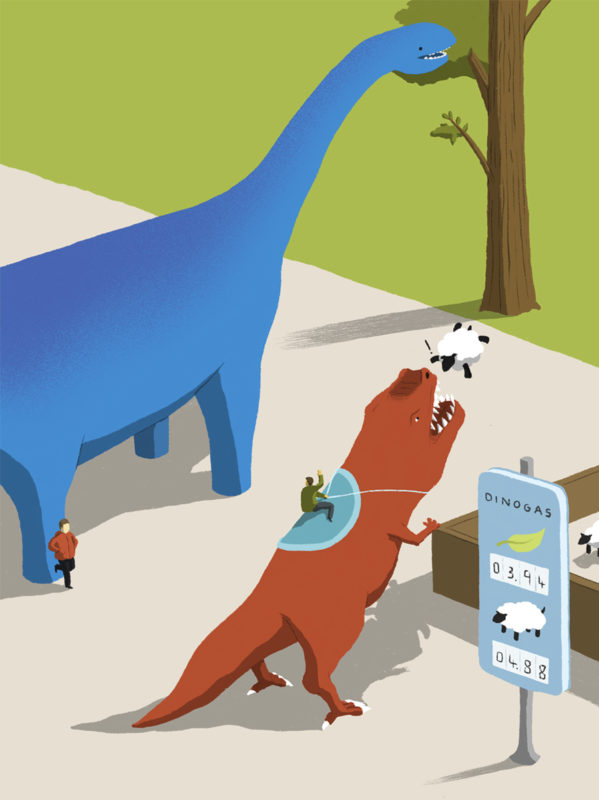 leeds illustration illustrator andy carter dinosaurs fuel fueling station