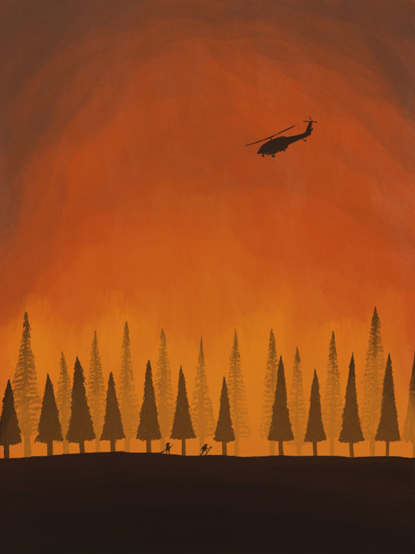leeds illustration illustrator andy carter firefighters putting out a forest fire