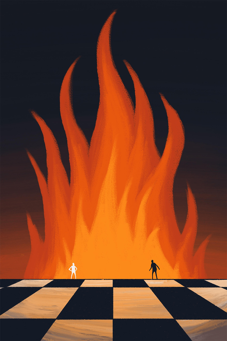 leeds illustration illustrator andy carter two people facing off on chessboard passionate fire