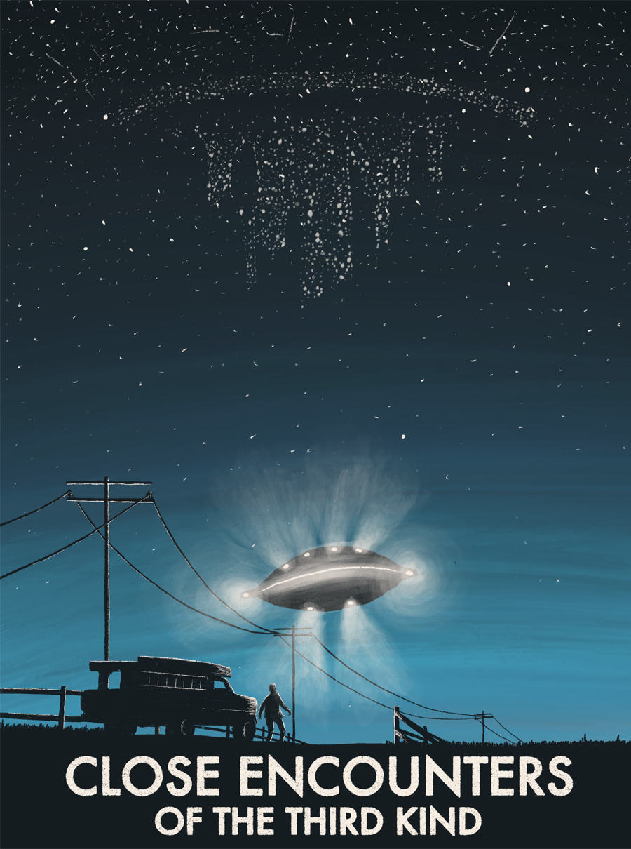 leeds illustration illustrator andy carter close encounters of the third kind alien poster