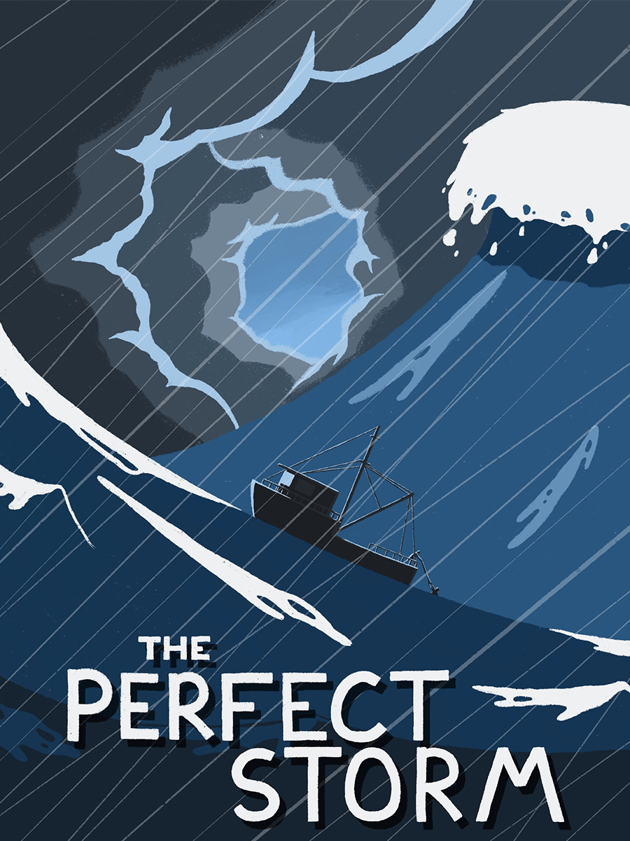 leeds illustration the perfect storm fishermen in stormy sea
