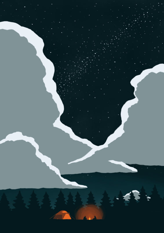 leeds illustration camping under stars in forest with clouds